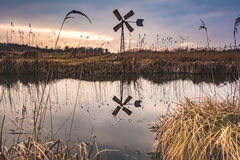 Windmill. In nature reserve near water in Overijssel, Netherlands stock photography