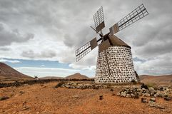 Windmill near La Oliva in Fuerteventura Spain Stock Photography