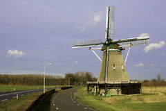 Dutch Windmill. Windmill of Windesheim, built in 1748 and last renovated in 1952. This one is still in use to mill wheat into flower Stock Image