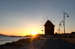 Windmill in Nessebar in morning sunrise time Stock Images