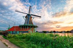 Windmill in Netherlands. At sunset Royalty Free Stock Photo