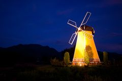 Windmill at night Royalty Free Stock Image