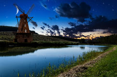 Windmill in the night Stock Photography