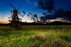 Windmill in the night Stock Photos