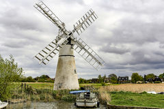 Windmill in Norfolk. On a very cloudy day Stock Photography