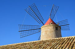 Windmill in Nubia (near Trapani-city); Sicily. Royalty Free Stock Images