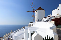 Windmill at Oia of Santorini, Greece. Windmill at Oia of Santorini island in Cyclades, Greece Royalty Free Stock Image