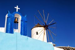 Windmill in Oia, Santorini, Greece. Stock Images