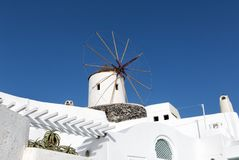 Windmill in Oia, Santorini Royalty Free Stock Photos