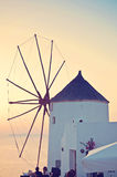 Windmill in Oia, Santorini, Greece Stock Photo