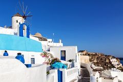 Windmill in Oia, Santorini island Royalty Free Stock Image