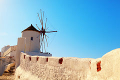 Windmill in Oia, Santorini. Shot at sunrise. Horizontal shot Royalty Free Stock Photography