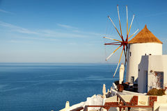 Windmill in Oia , Santorini. Windmill in Oia town, Santorini, Greece. Horizontal shot Royalty Free Stock Images