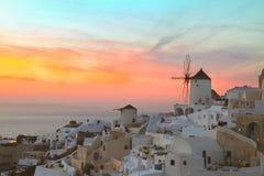 Windmill of Oia at sunset, Santorini Royalty Free Stock Photos