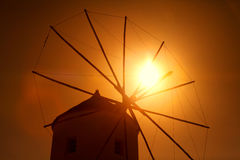 Windmill in Oia at sunset, Santorini Royalty Free Stock Photography