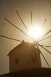 Windmill in Oia at sunset, Santorini Stock Image