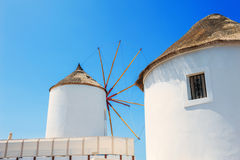 Windmill in Oia town, Santorini island, Greece Royalty Free Stock Images