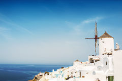 Windmill in Oia town. Santorini island, Greece Royalty Free Stock Images