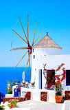 Windmill in Oia village stock images