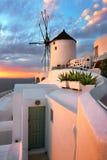 Windmill in Oia Village in the Evening, Santorini, Greece Stock Image