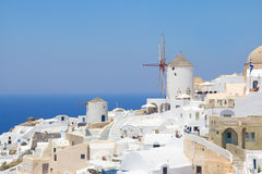Windmill in Oia village on island of Santorini Royalty Free Stock Images