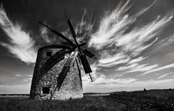 Windmill. An old but functioning windmill in the Bakony Mountains royalty free stock photography