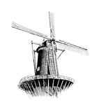 Windmill old retro vintage drawing Royalty Free Stock Image