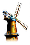 Windmill old retro vintage drawing Royalty Free Stock Images
