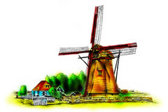 Windmill old retro vintage drawing Stock Photos