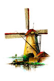 Windmill old retro vintage drawing Stock Image