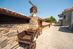 Windmill in an old stone architecture of Sozopol in Bulgaria Royalty Free Stock Photos