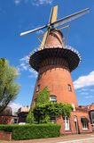 Windmill is one of the most famous symbols of the Netherlands. Traditional old mill in Utrecht, Netherlands. View in spring day.  royalty free stock photography