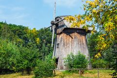 Windmill in open air folk museum in Lublin stock images