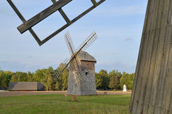 Windmill in open-air museum in Olsztynek (Poland) Stock Photos