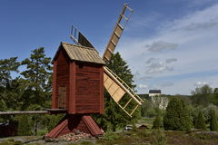 Windmill in the Open-Air Village Museum near Kastelholm Castle, Sund, Aland, Finland. Stock Images