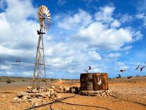 Windmill in the Outback, Australia. Windmill in the Outback of Gnaraloo Station, Western Australia Royalty Free Stock Photo