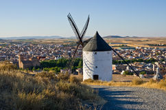Windmill overlooking Consuegra Royalty Free Stock Photo