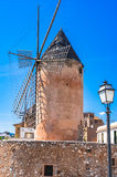 Windmill in Palma de Majorca Spain. View of an old historical Windmill in Palma de Mallorca, Spain Royalty Free Stock Images