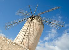 Windmill, Palma de Mallorca. PALMA MALLORCA. 23rd December 2017. Palma`s historic windmills dominate the city`s skyline. The city is an attractive place to visit Royalty Free Stock Image