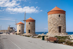Free Windmill Papagiorg Whit Vati In Rhodes Harbor. Royalty Free Stock Photography - 96279237