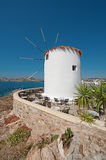 A windmill at the Parikia town, Paros island, Greece Royalty Free Stock Images