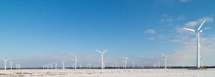 Windmill park. In snowy landscape Stock Image