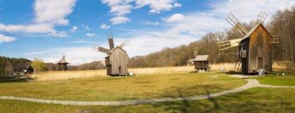 Windmill park panorama, Sibiu, Transylvania, Romania stock photo
