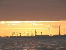 Windmills at sea during sunset Royalty Free Stock Images