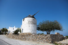 Windmill on Paros island Stock Images