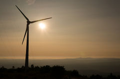 Windmill in Portugal during sunset Stock Image