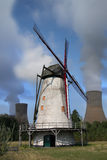 Windmill with power plant Royalty Free Stock Photo