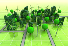 Windmill powered city grid concept Stock Photos
