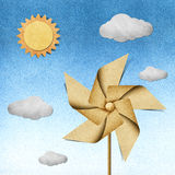 Windmill recycled papercraft Royalty Free Stock Images