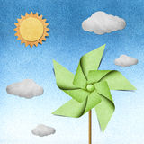 Windmill recycled papercraft Royalty Free Stock Photo